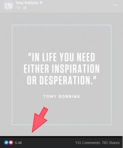 Tony Robbins Facebook Post Engagement Example