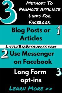 3 methods to promote affiliate links for Facebook affiliate marketing